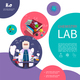 Flat Laboratory Research Colorful Concept