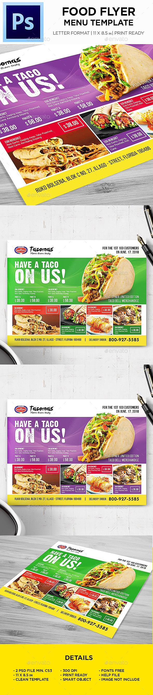 Restaurant Menu - Food Menu Landscape Flyer