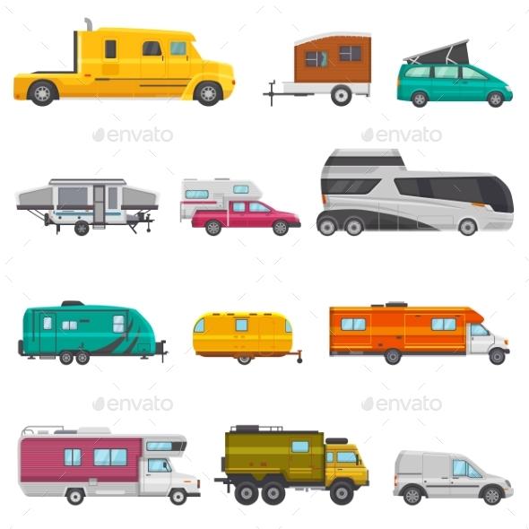 Caravan Vector Camping Trailer and Rv Caravanning - People Characters
