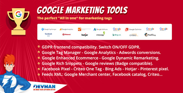 Google Marketing Tools - The most complete marketing tool to Woocommerce! GDPR adapted!            Nulled
