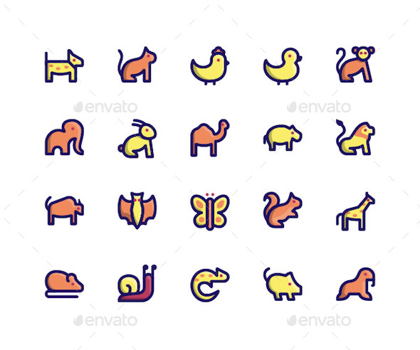 Animal Filled Line Icons - Icons