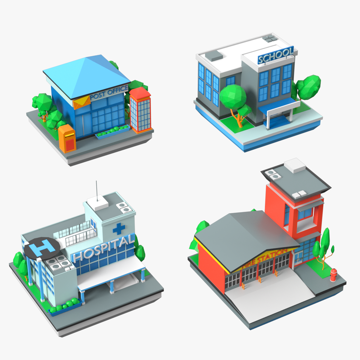 Cartoon Public Buildings Low Poly Set By Macrovector 3docean