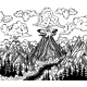 Hand Drawn Volcano Landscape with Forests