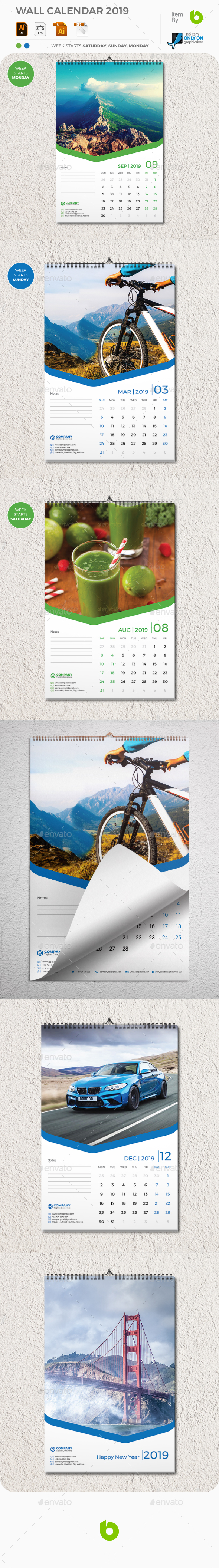 Wall Calendar 2019 - Calendars Stationery