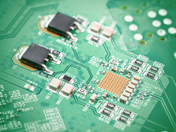 electronic components on motherboard - Stock Photo - Images
