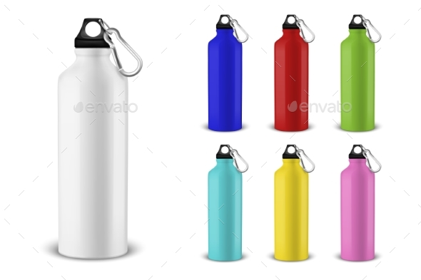 Vector Realistic Different Color Bottles - Man-made Objects Objects