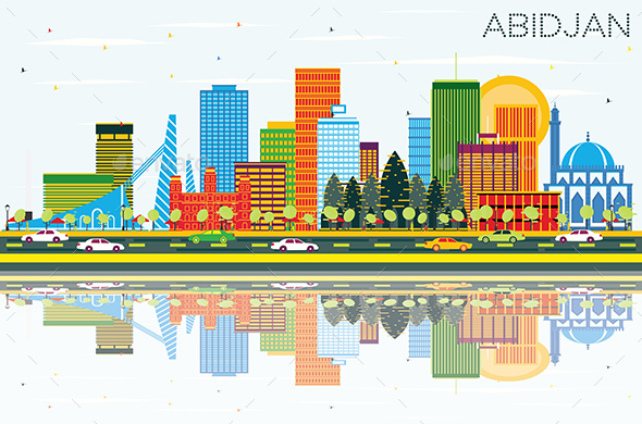 Abidjan Ivory Coast City Skyline with Color Buildings - Buildings Objects