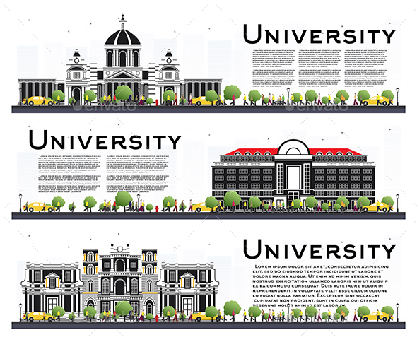 Set of University Campus Study Banners Isolated on White - Buildings Objects