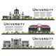 Set of University Campus Study Banners Isolated on White