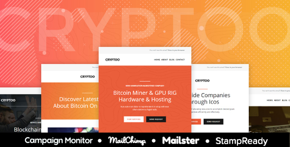 Cryptoo - Multipurpose Responsive Email for Crypto Currency + Online Builder + Mailster & Mailchimp - Newsletters Email Templates