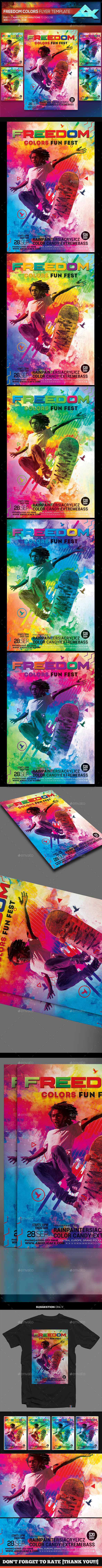 Freedom Colors Fun Fest Photoshop Flyer Template
