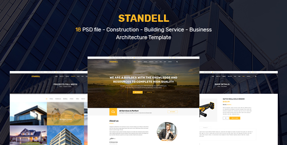 Standell | Multipurpose Construction PSD Template - Corporate PSD Templates