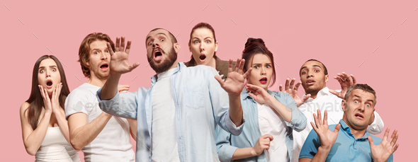 Group of frightened people - Stock Photo - Images