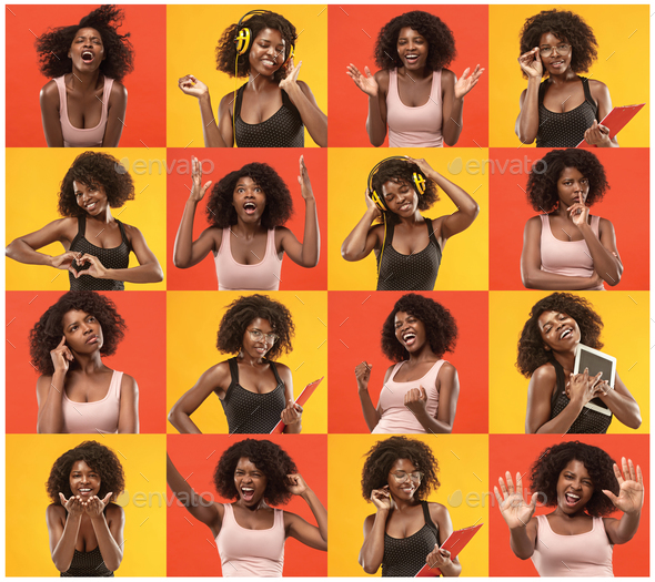 Collage about surprised and happy beautiful afro woman - Stock Photo - Images