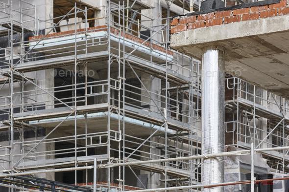 Building facade under construction. Concrete structure. Architecture. Horizontal - Stock Photo - Images