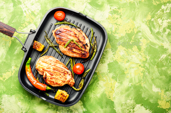 Grilled healthy chicken breasts - Stock Photo - Images