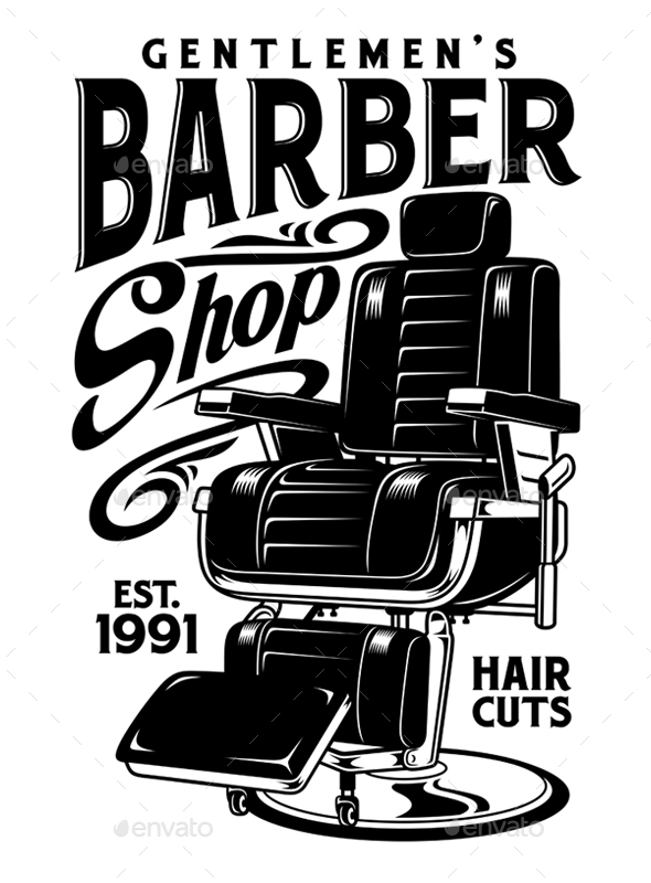 Barbershop Chair Vector Illustration - Man-made Objects Objects