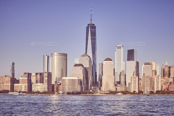 Manhattan seen from New Jersey at sunset, NYC. - Stock Photo - Images