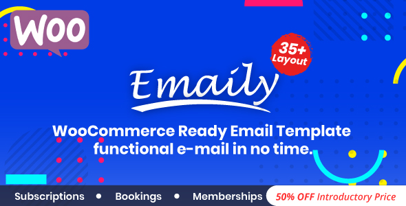 Emaily | WooCommerce Responsive Email Template + Subscriptions + Bookings + Memberships Compatible            Nulled