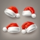 Vector Realistic Santa Christmas Holiday Hat Set - GraphicRiver Item for Sale