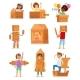 Kids in Box Vector Creative Children Character