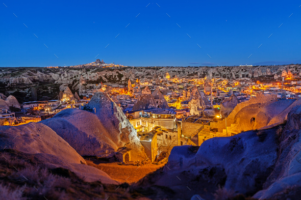 Night Goreme city, Turkey - Stock Photo - Images