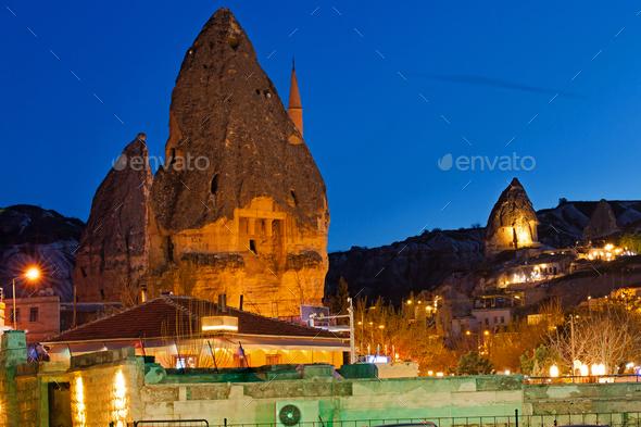 Night Goreme city, Turkey - Stock Photo - Images