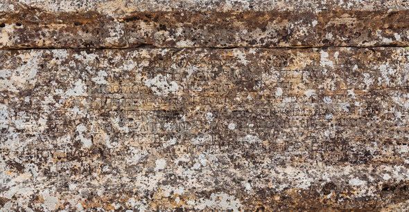 Stone plate with inscriptions in ancient city Hierapolis - Stock Photo - Images