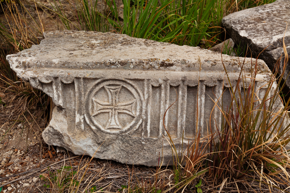 Marble plate with old christian symbols in ancient city Hierapolis - Stock Photo - Images