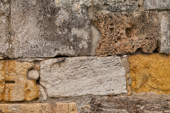 Texture of stone wall in ancient city, Hierapolis - Stock Photo - Images