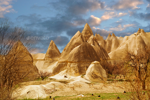 Stone cliffs looks like a Fairy houses in Love valley - Stock Photo - Images