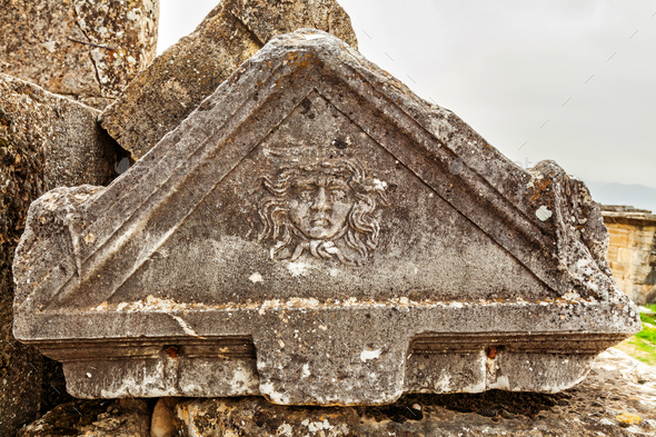 Ruins of ancient city, Hierapolis near Pamukkale, Turkey - Stock Photo - Images