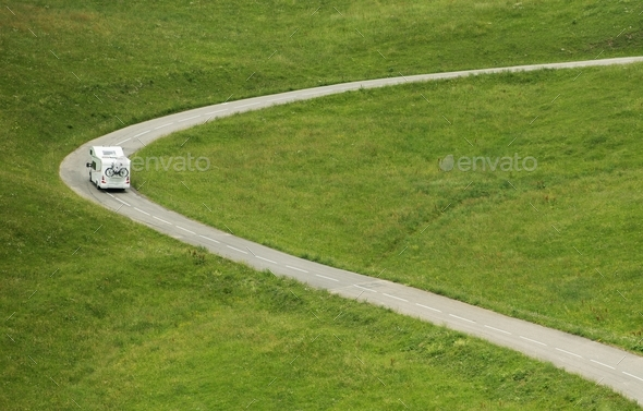 Vacation Road Trip in Camper - Stock Photo - Images