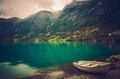 Norwegian Fjord with Boat - PhotoDune Item for Sale
