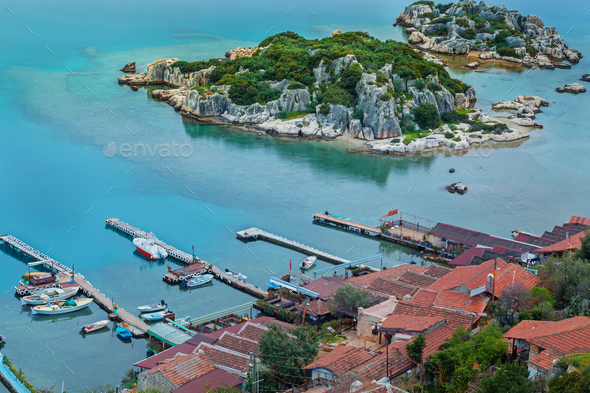 Small fishers village Simena, view from old fortification - Stock Photo - Images