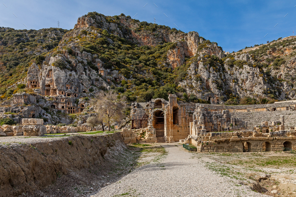 Demre. Tombs of the Ancient Mira - Stock Photo - Images