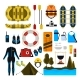 Rafting Icon Set Vector Isolated Illustration
