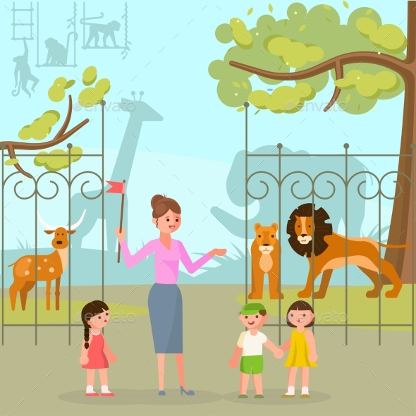 Zoo Animals Vector Flat Style Design Illustration - Animals Characters
