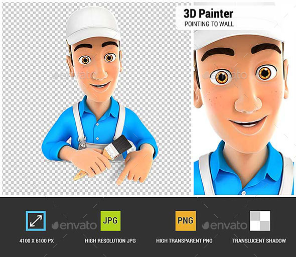 3D Painter Pointing to Empty Wall - Characters 3D Renders