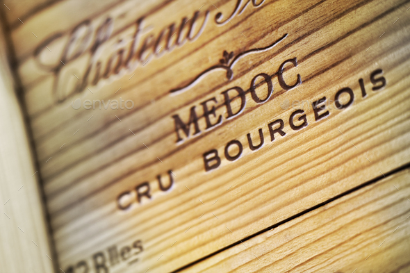 Bordeaux wine wooden box - Stock Photo - Images