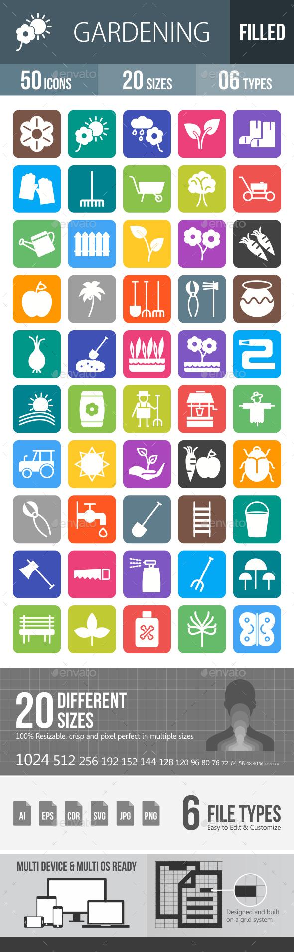 50 Gardening Line Filled Round Corner Icons - Icons