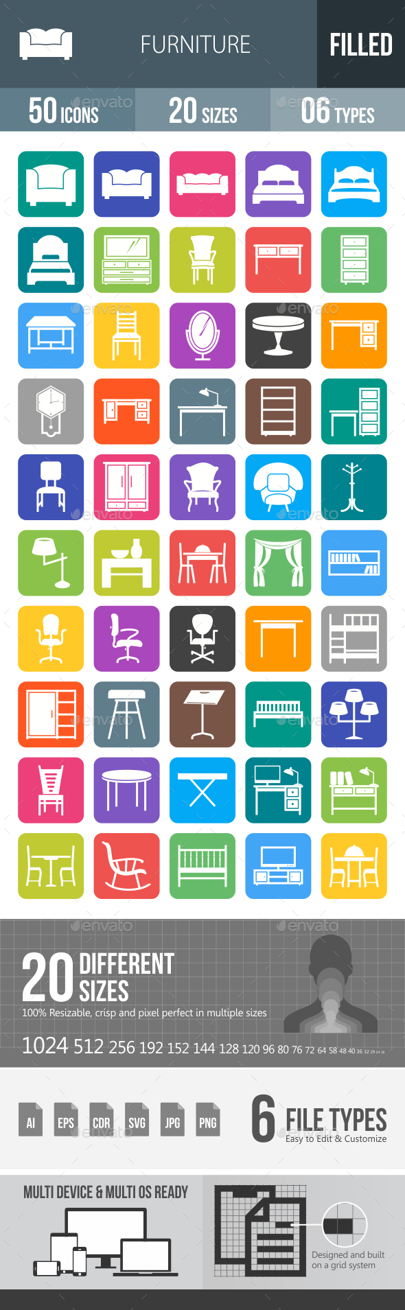 50 Furniture Filled Round Corner Icons - Icons