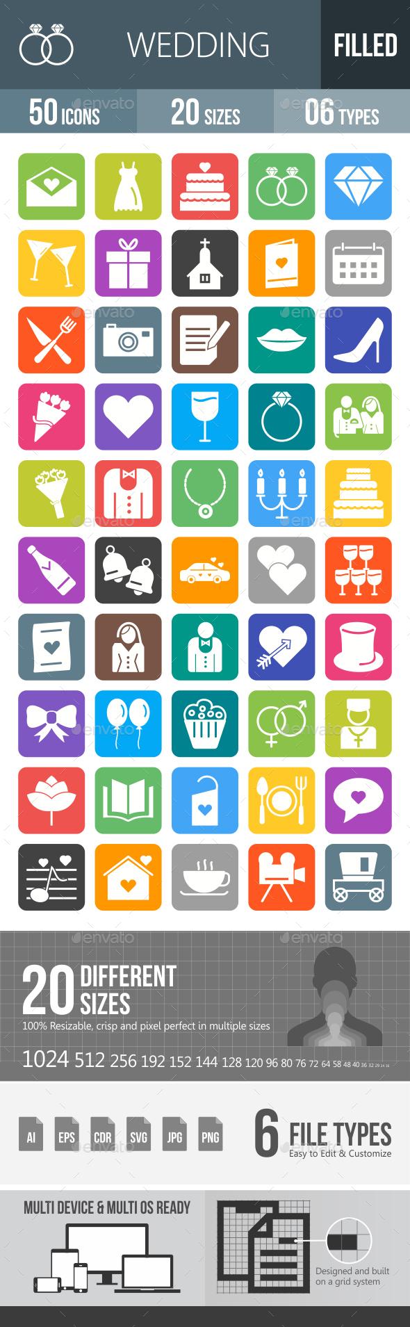 50 Wedding Filled Round Corner Icons - Icons