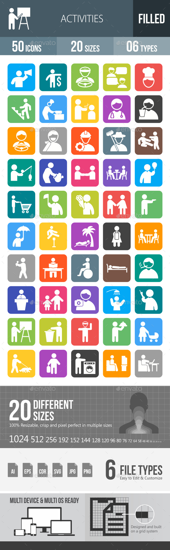 50 Activities Filled Round Corner Icons - Icons