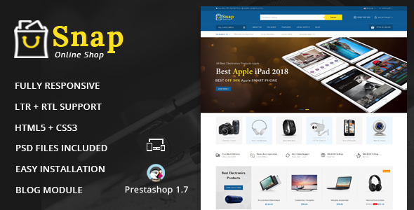 Snap - Electronics Prestashop 1.7 Responsive Theme - Technology PrestaShop