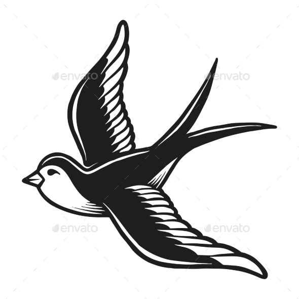 Vintage Monochrome Flying Dove Silhouette Concept - Animals Characters