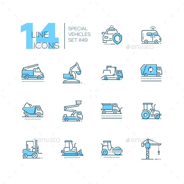 Special Vehicles - Line Design Blue Icons Set - Miscellaneous Conceptual