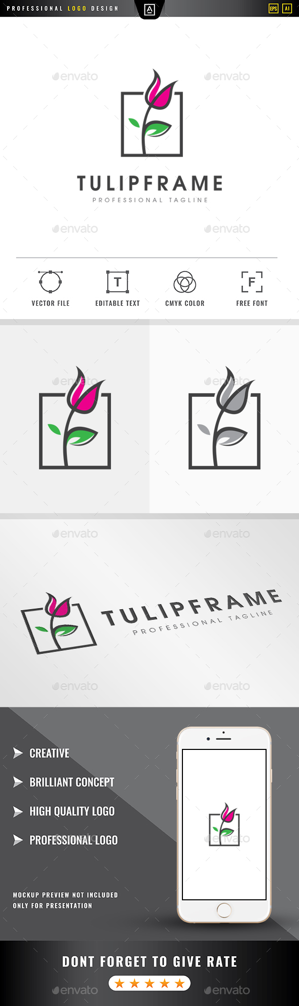 Tulip Frame Logo - Nature Logo Templates