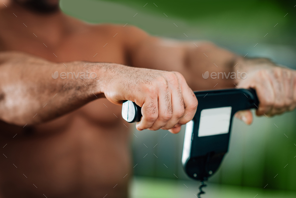 Measuring  weight using body scale - Stock Photo - Images