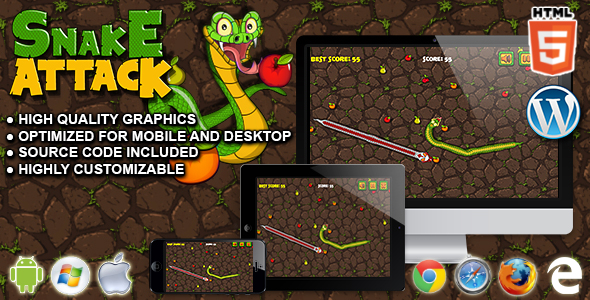 Snake Attack - HTML5 Survival Game - CodeCanyon Item for Sale